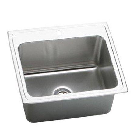 Lustertone 3 Hole - Elkay DLR2521103 Gourmet Lustertone Stainless Steel Single Bowl Top Mount Sink with 3 Faucet Holes