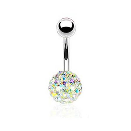 Aurora Borealis Crystal Ball Belly Ring Body Jewelry-  14 G Navel Ring