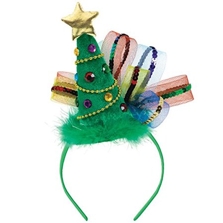 """Amscan Fun-Filled Christmas and Holiday Party Tree Fashion Headband (1 Piece), 8"""" x 7 7/8"""", Green"""