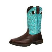 "Durango Western Boots Mens 12"" Rebel Saddle Pull On Brown Teal DWDB015"
