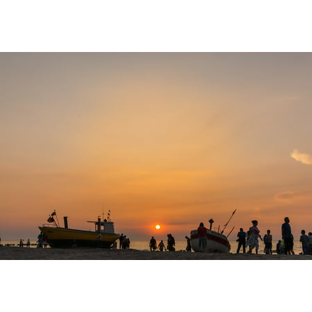 Canvas Print Silhouettes People Beach Mood Sea Sunset Evening Stretched Canvas 10 x 14