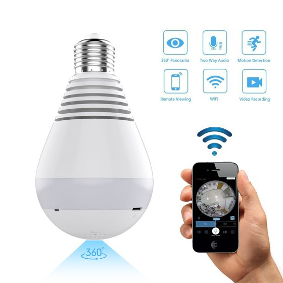 Light Camera, 360 Degree Panoramic 1080P HD Wifi Camera Light Security IP  Cam Lamp