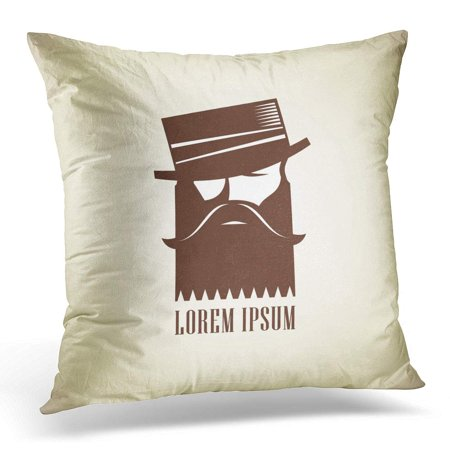 ECCOT Club Vintage Hipster Man Beard Mustache in Hat Stylish Stuff Handsome Pillowcase Pillow Cover Cushion Case 20x20 inch - Mustache Pillow