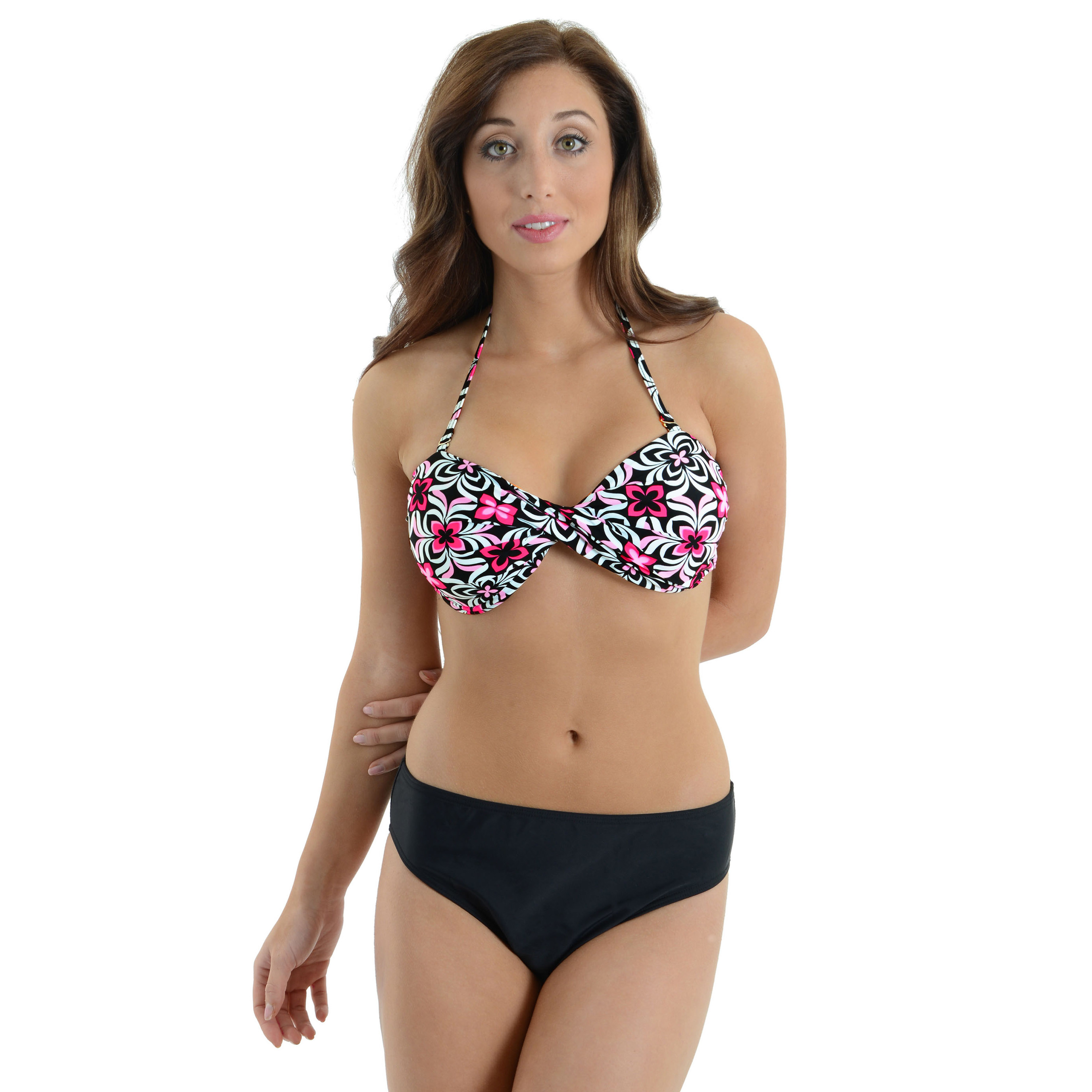 Caribbean Sand Women's Black and Pink Swimsuit 2 Piece Bandeau Bathing Suit