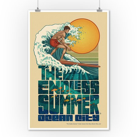 Ocean City, New Jersey - The Endless Summer - Underwater Scene - Lantern Press Artwork (9x12 Art Print, Wall Decor Travel Poster)