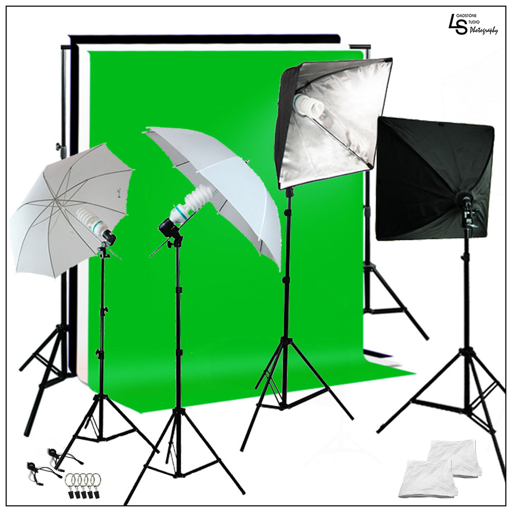 5'x10' Multi Color Chromakey Photo Backdrop Lighting Kit with Softbox, Umbrella, and Light Stand, Bulbs by Loadstone Studio  WMLS1070