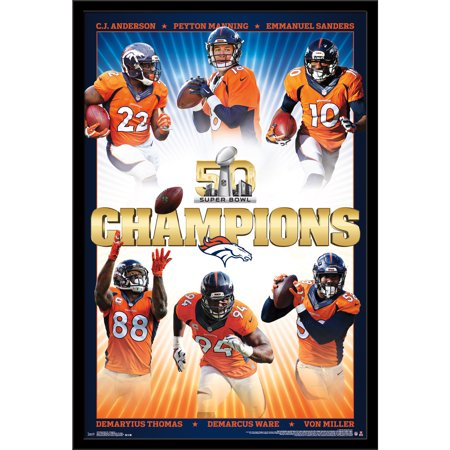 Denver Broncos Super Bowl Champions 24.25'' x 35.75'' Framed Poster - No