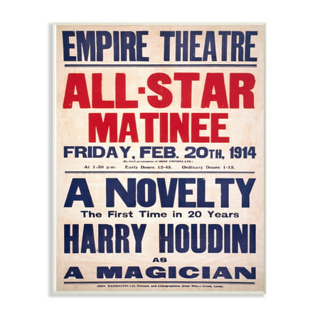 Empire Art Collection - The Stupell Home Decor Collection Vintage Empire Theatre Harry Houdini Poster Wall Plaque Art, 10 x 0.5 x 15