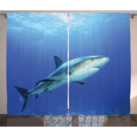 Shark Curtains 2 Panels Set, Fish in the Exotic Ocean Dreamy Water with Surreal Color Underwater World Image, Window Drapes for Living Room Bedroom, 108W X 108L Inches, Violet Blue (38031 Light)