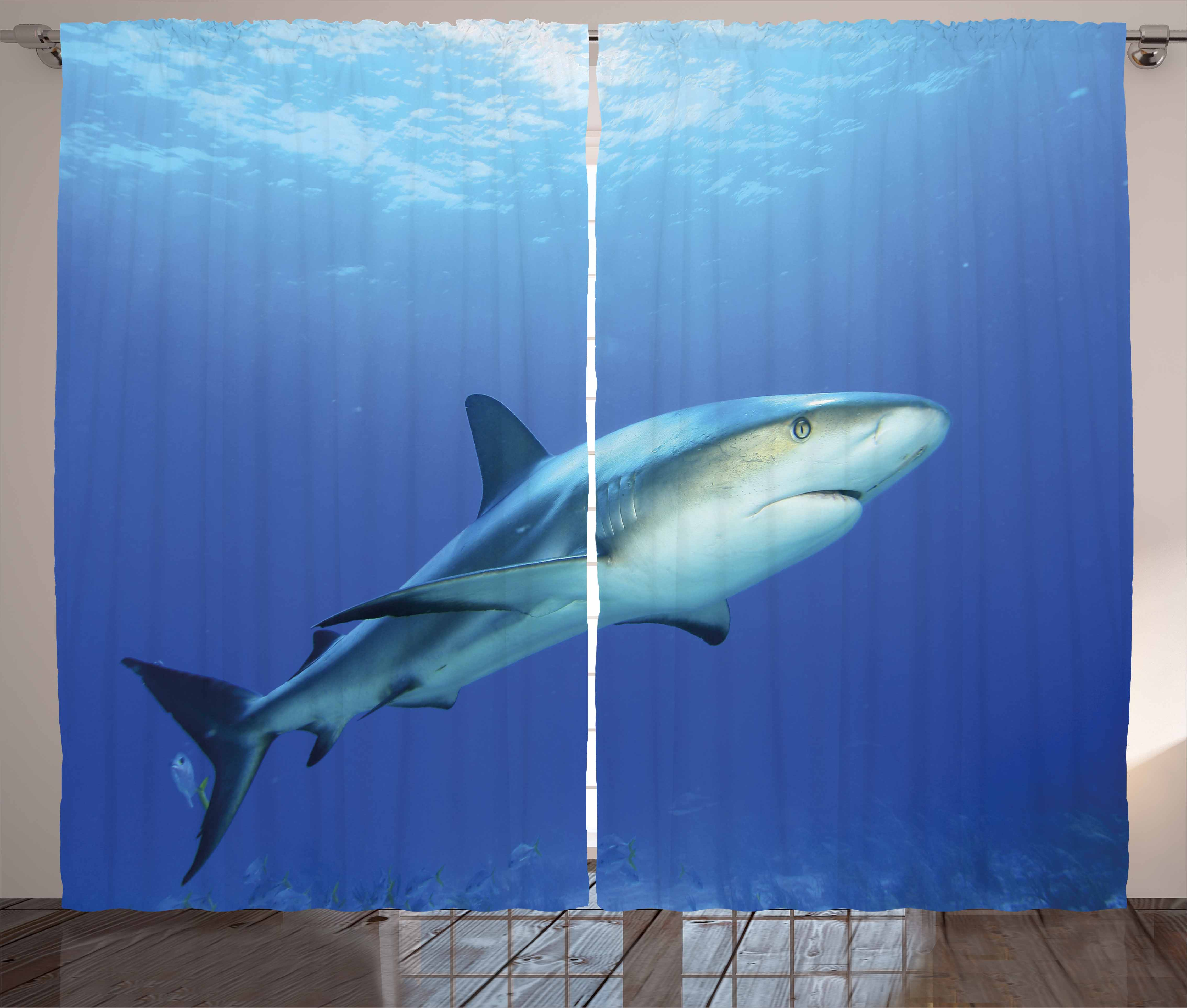 Amazing Shark Curtains 2 Panels Set, Fish In The Exotic Ocean Dreamy Water With  Surreal Color Underwater World Image, Window Drapes For Living Room  Bedroom, ...