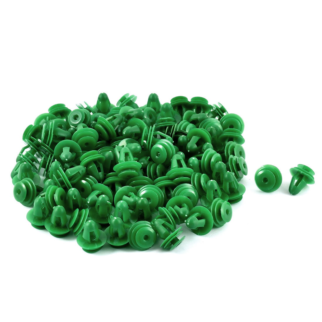 Green 8mm Hole Vehicle Car Van Door Plastic Rivet Fastener 100pcs