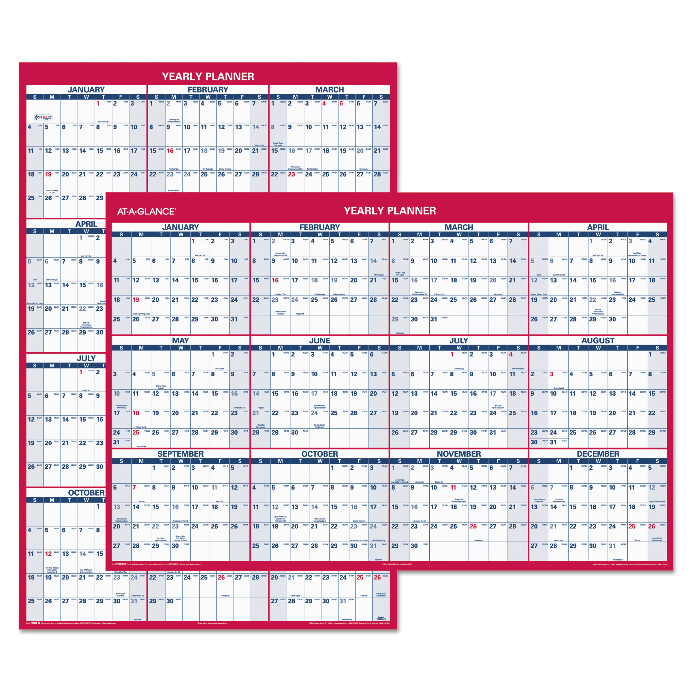 AT-A-GLANCE Erasable Vertical/Horizontal Wall Planner, 32 x 48, Blue/Red, 2019 -AAGPM32628