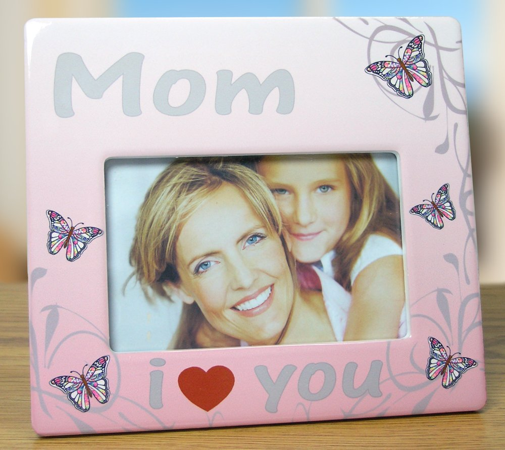 Mom Frame - 4 x 6 Frame - Butterfly Photo Plaque - I Love You Mom ...