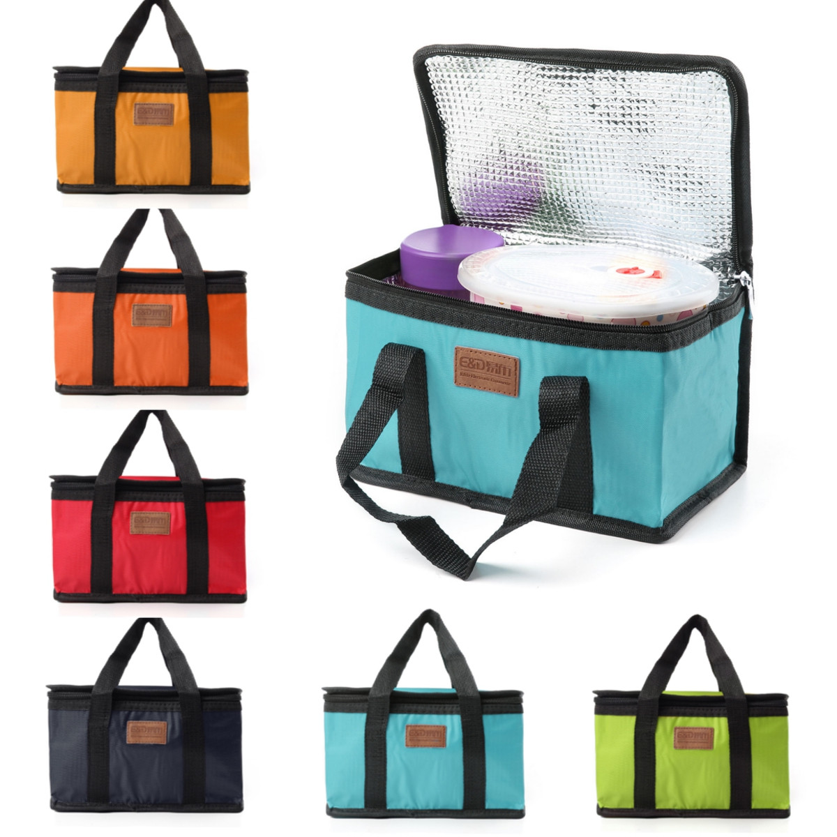 Lunch Bag Portable Waterproof Thermal Cooler Insulated Lunch Box Storage Picnic Bag Pouch