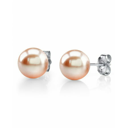14K Gold 10-11mm Peach Freshwater Cultured Pearl Stud Earrings - AAAA (Quality Patch)
