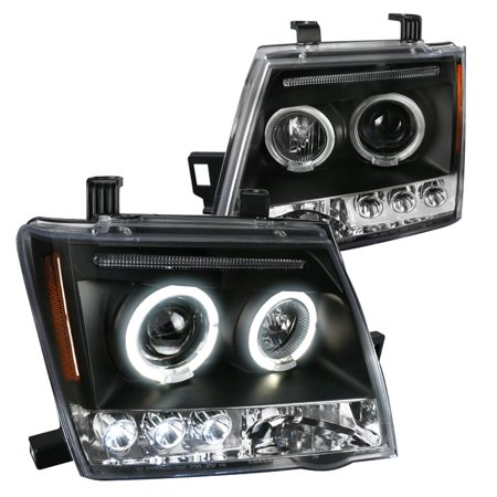 Nissan Xterra Replacement Headlight - Nissan Xterra Dual Halo Led Projector Head Lights