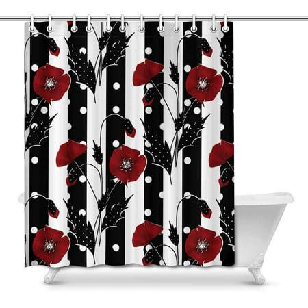 Mkhert Red Poppies On Black White Stripes House Decor Shower