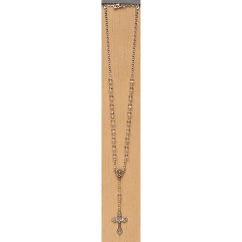 """Pack of 4 Clear Two Decade Rosary Crystal Beaded Rosary Necklaces 18"""""""