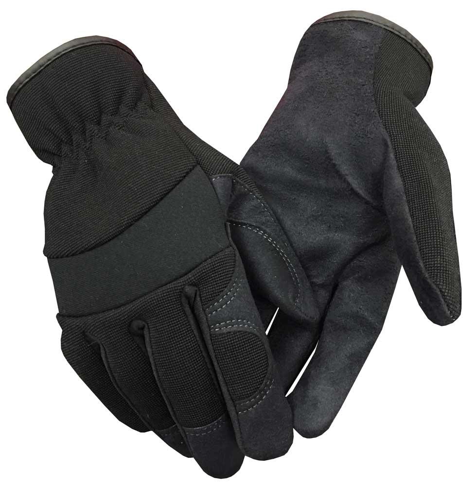 Northstar Fur Unisex Unlined Suede Palm Lightweight Work Gloves, Black. 58BK
