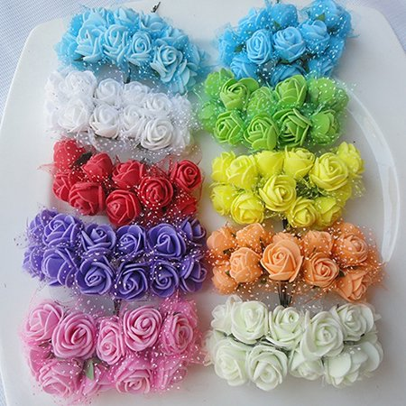 Foam Flowers (Girl12Queen 144 Pcs Wedding Artificial Flowers Mini Foam Rose Petals Bouquet Wedding)