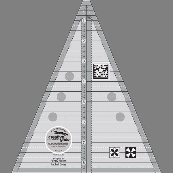 Creative Grids 45 Degree Kaleidoscope & Dresden Plate Triangle Ruler