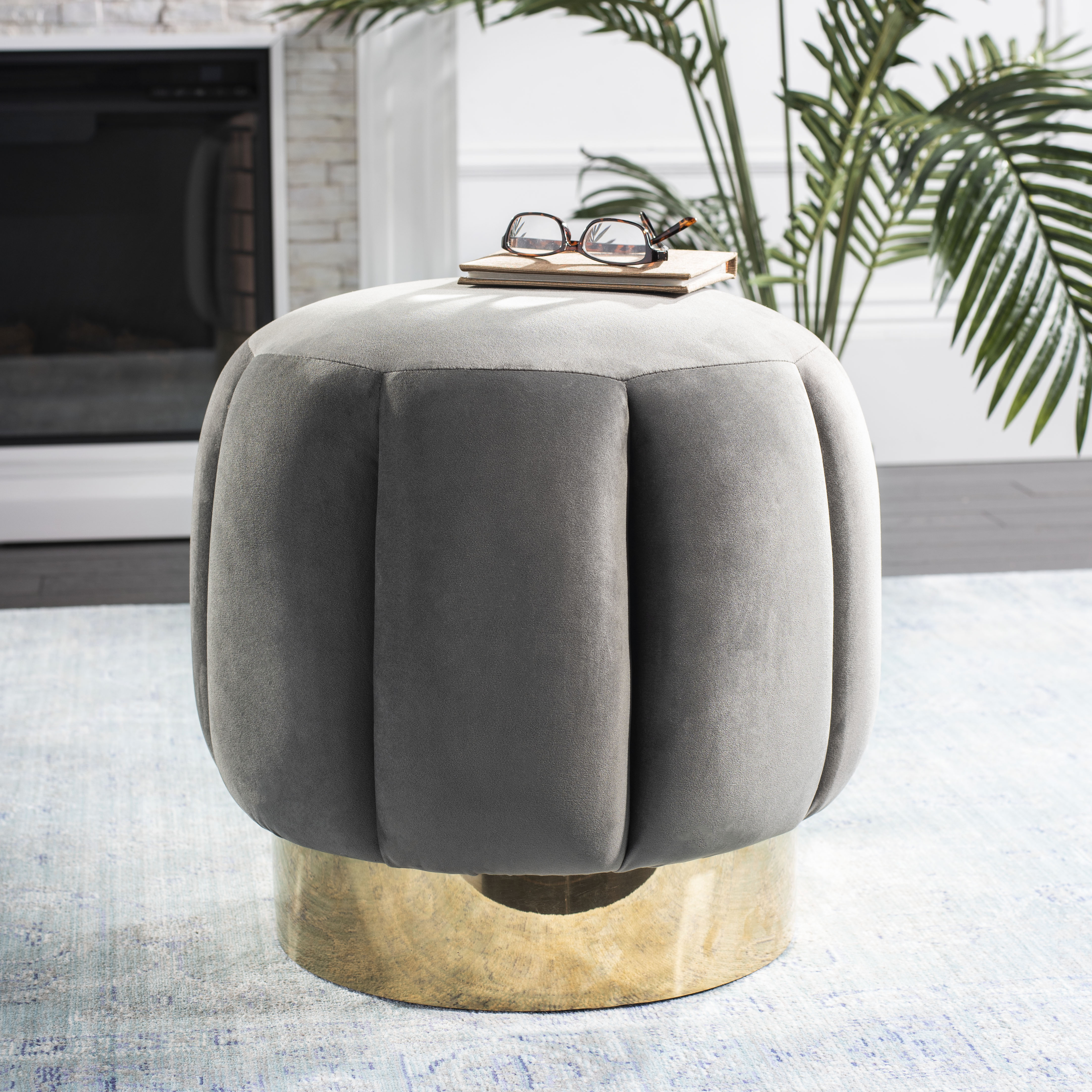Safavieh Couture Maxine Channel Modern Glam Tufted Ottoman