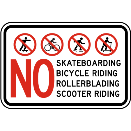 Traffic Signs - No Skateboarding Rollerblading Sign 10 x 7 Aluminum Sign Street Weather Approved Sign