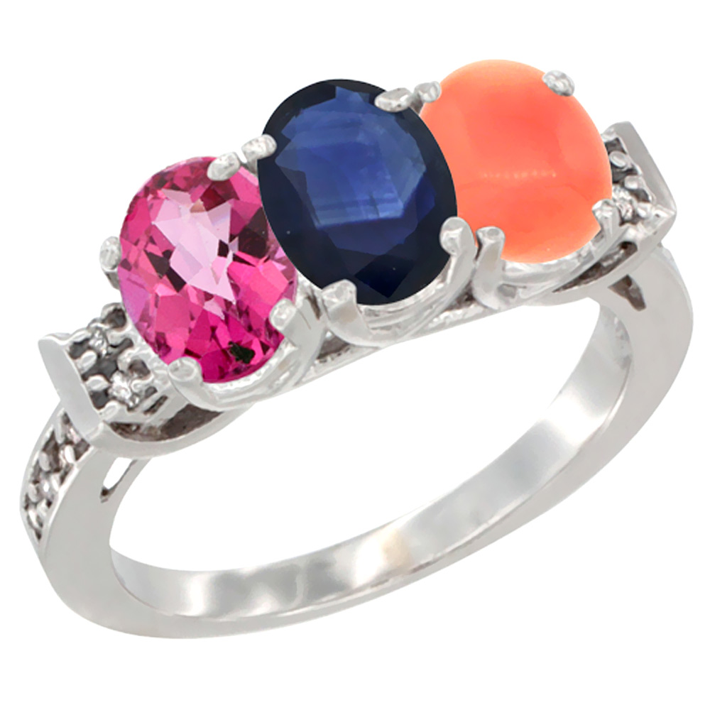 14K White Gold Natural Pink Topaz, Blue Sapphire & Coral Ring 3-Stone Oval 7x5 mm Diamond Accent, sizes 5 10 by WorldJewels