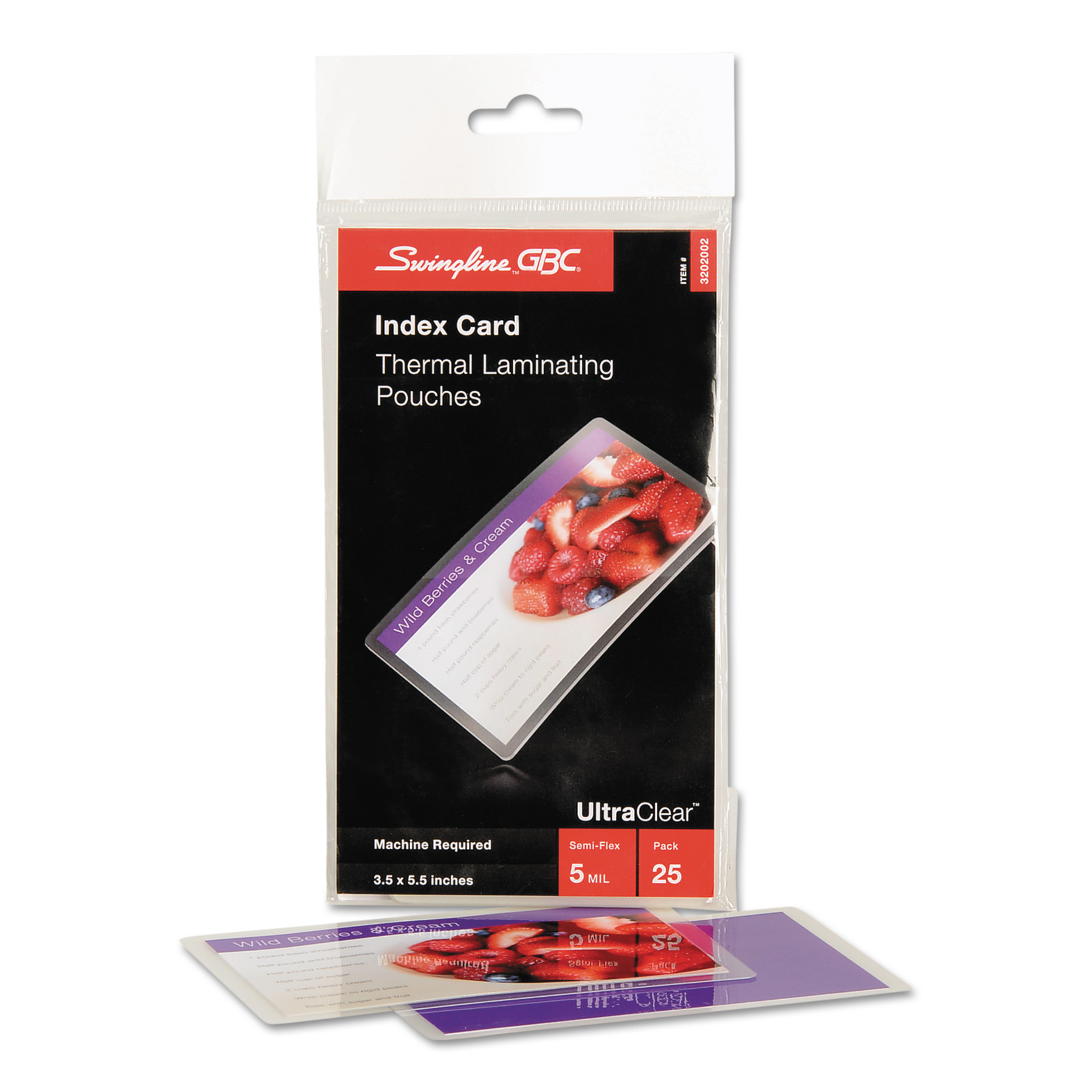 Swingline GBC UltraClear Thermal Laminating Pouches, 5mil, 5 1/2 x 3 1/2, Index Card, 25/PK -SWI3202002
