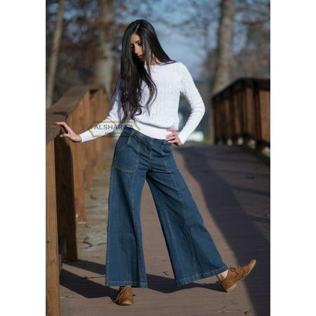 CUTE LONG WIDE-LEG DENIM PANTS | WOMEN TROUSERS BLUE JEANS (BA005) | WAIST SIZE = 30