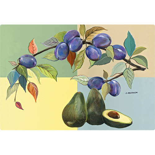 Magic Slice 9.5'' x 12.5'' Avocados and Plums Design Cutting Board