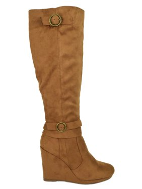 11b1b618088c Product Image Cassia-01 Tan Brown Suede Wild Diva Lounge Women Knee High  Wedge Heel Boots Buckled