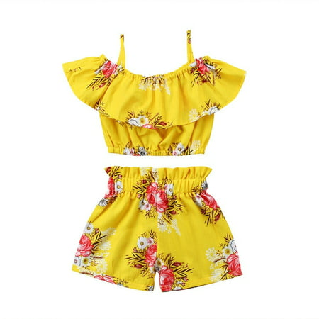 New Toddler Kids Baby Girls Floral Strap Tops Shorts Summer Infant Outfits Set - Sasuke New Outfit