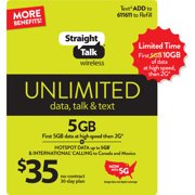Straight Talk $35 Unlimited 30-Day Prepaid Plan (10GB of data at high speeds then 2G*) Direct Top Up