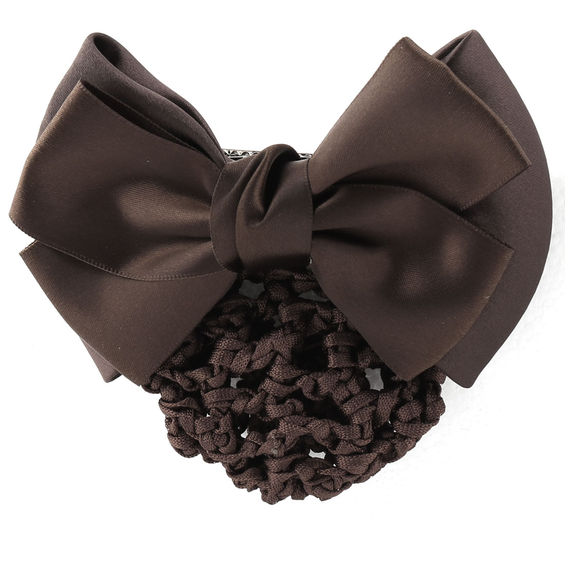 Women Bowknot Shaped Hairdressing Hairnet Hair Snood Barrette Coffe Color