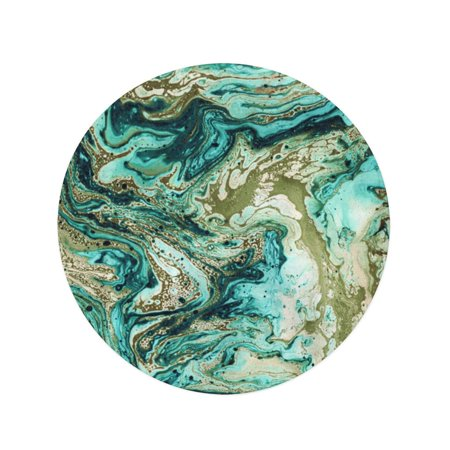 POGLIP 60 inch Round Beach Towel Blanket Gray Black Marble Liquid Paints Abstract Painting Modern Green Travel Circle Circular Towels Mat Tapestry Beach Throw - image 1 de 2