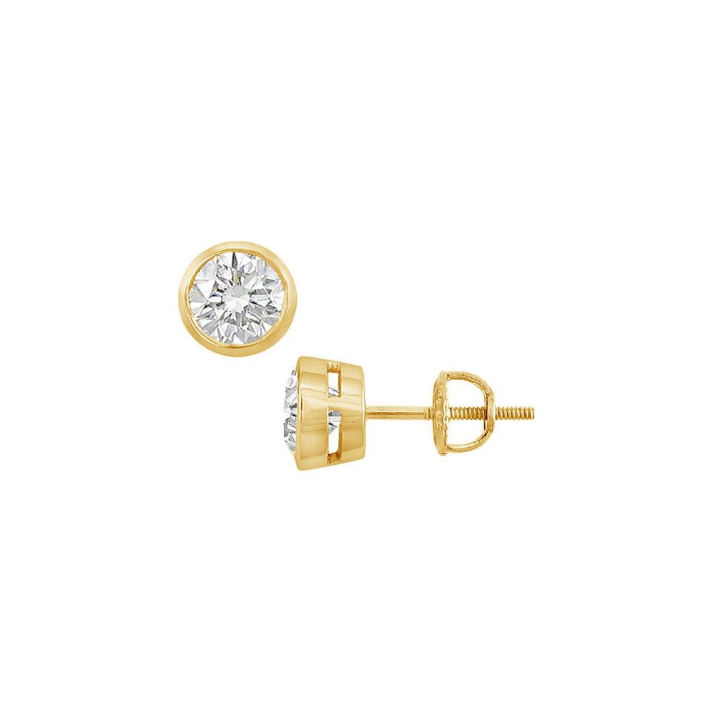 14K Yellow Gold Bezel Set Round Diamond Stud Earrings 1.50 CT. TW. - image 2 de 2