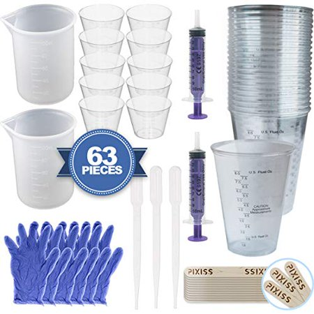 Pixiss Resin Accessory Kit 2X 100ml Silicone Measuring Cups, 10x 1-Ounce Clear Cups, 20x Wood Mixing Sticks, 2X 10ml Syringes, 20x 10-Ounce Disposable Graduated Clear Plastic Cups, 3 Pair of Gloves
