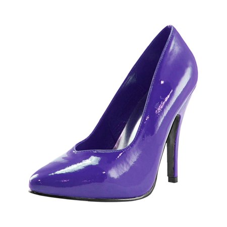 Women's Classic Party Pump Shoes with Stiletto Heel and Upper Stitching Purple