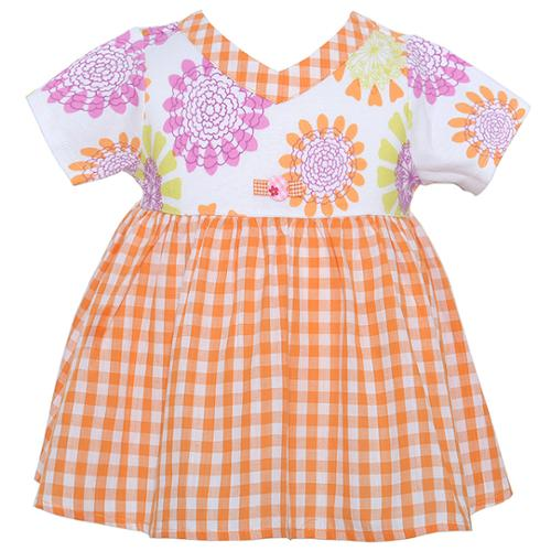 Baby Lulu Baby Girls Orange Floral Checkered Print Casual Dress 12M