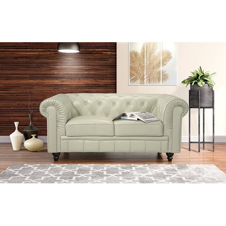 Classic Scroll Arm Real Italian Leather Chesterfield Love Seat (Beige) (2 Piece Leather Loveseat)
