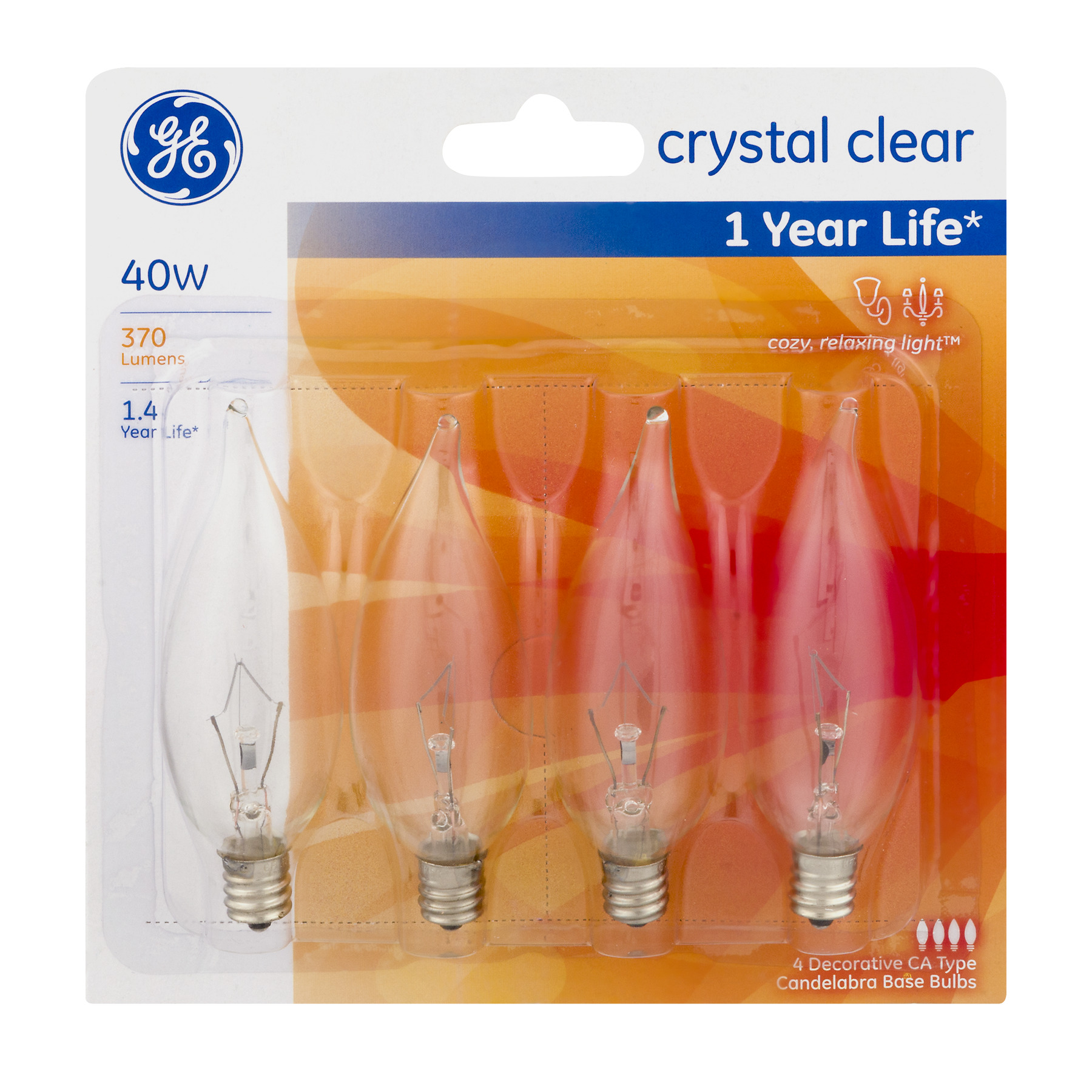 GE Lightbulb Crystal Clear 40W - 4 CT4.0 CT
