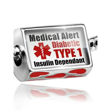 Bead Medical Alert Red Diabetic Insulin Dependant TYPE 1 Charm Fits All European -