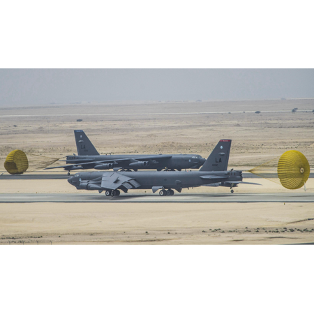 LAMINATED POSTER B-52 Stratofortress bombers from Barksdale Air Force Base, La., arrived at Al Udeid Air Base, Qatar, Poster Print 24 x