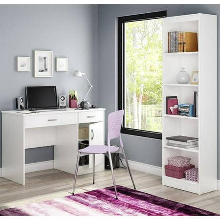 South Shore Smart Basics Work Desk and Narrow Bookcase, Multiple (Office Basics)