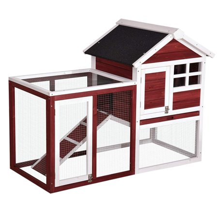 Lovupet Wooden Rabbit Bunny Hutch Outdoor Chicken Coop Dog House with Run Auburn - Mini Bunny House