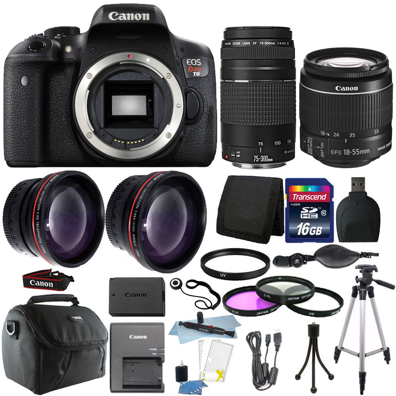 Canon EOS Rebel T6 DSLR Camera + EF-S 18-55mm IS II Lens ...