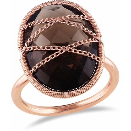 9 Carat T.G.W. Smokey Quartz Pink Rhodium-Plated Sterling Silver Cocktail Ring