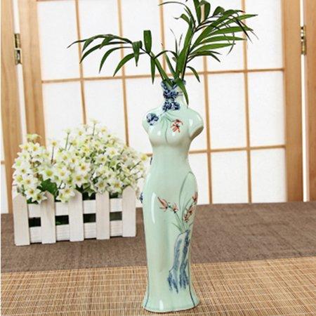 Classic Chinese Style Cheongsam Shaped Porcelain Vase Home Decoration Gift - Pattern-2