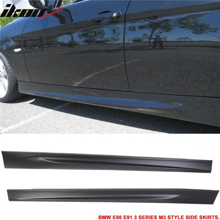 fits bmw 06-11 e90 e91 3-series sedan mtech msport m3 style side skirts pair pp